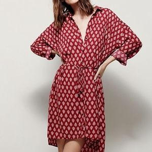 red wine & white Printed Crepe Belted shirtdress